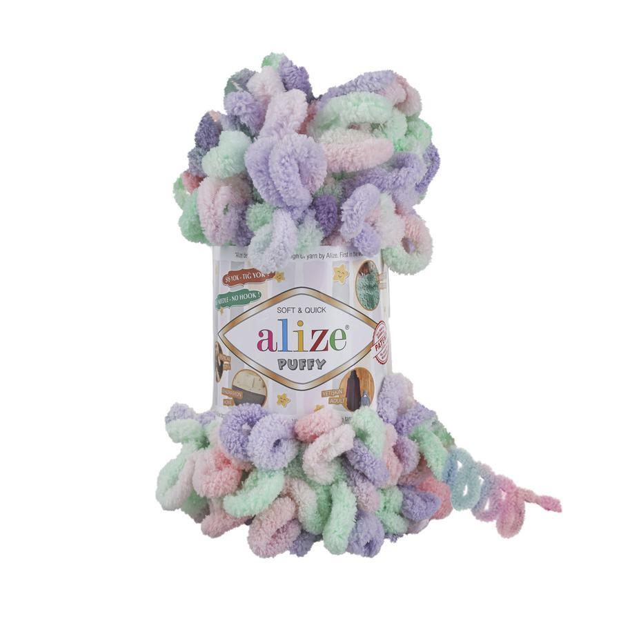 Пряжа Alize Puffy color сиренево-мятный меланж (5938) ᐉ купить в Екатеринбурге - цены в интернет-магазине Aliyarn